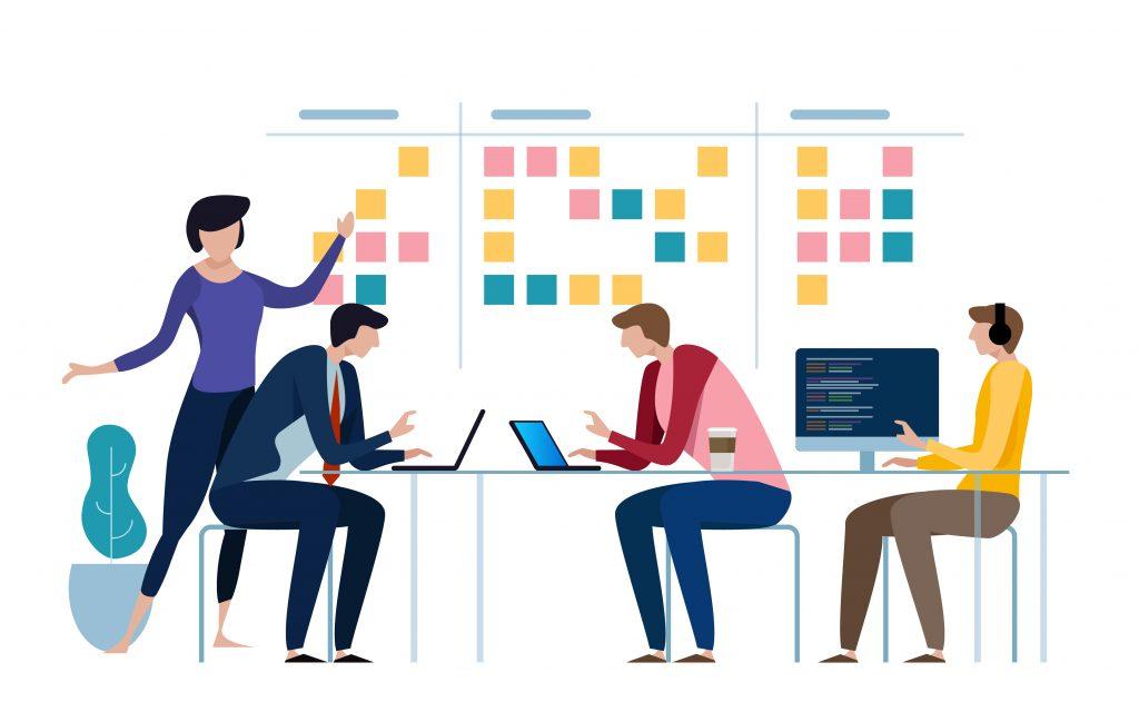 Groupe de personnes travaillant sur un projet en mode agile
