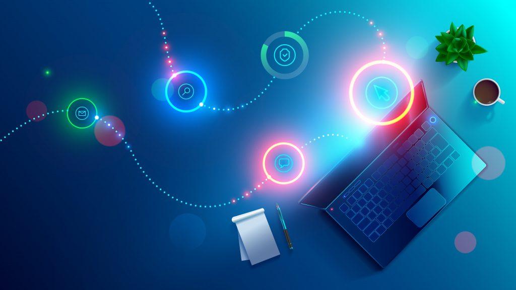 représentation du fonctionnement d'un environnement de travail numérique